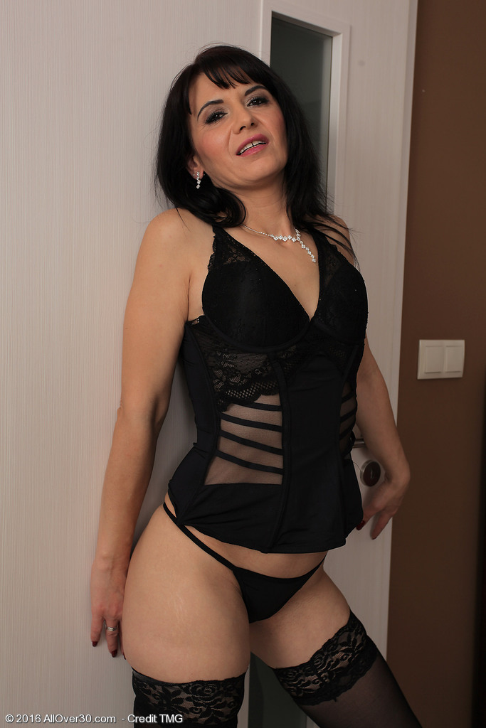 Concupiscent Latin Chick Milf Gracia Saluda Looks Wonderful in Thigh High Pantyhose and a Thong