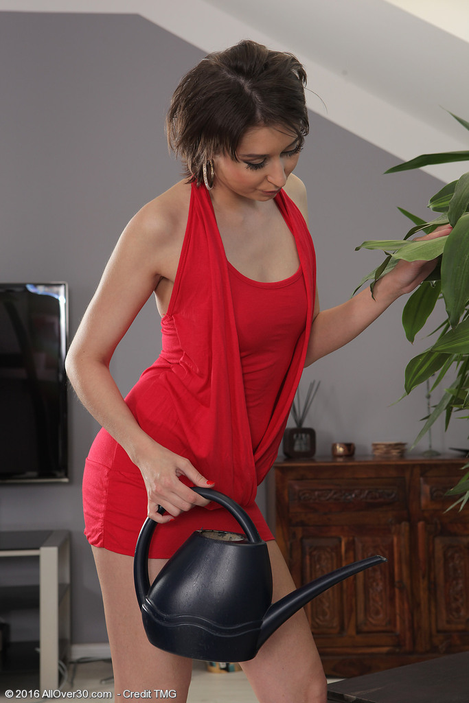 Leggy Beauty Meggie Takes off Her Bright Red Dress and Discloses Her Unshaved Sexy  Twat