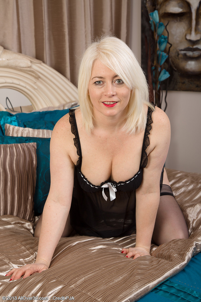 Blond 43 Year Old Amber Jewell Looking Fine in and out of Her Ligerie