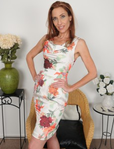 Thin 43 Year Old Redhead Betty Blaze Slides out of Her Elegant Dress