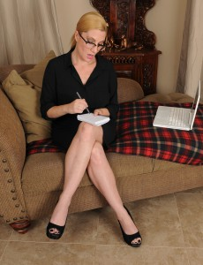 Hot  Blond 40 Year Old Secretary Jennifer Greatest  Opening Up Her Little Snatch