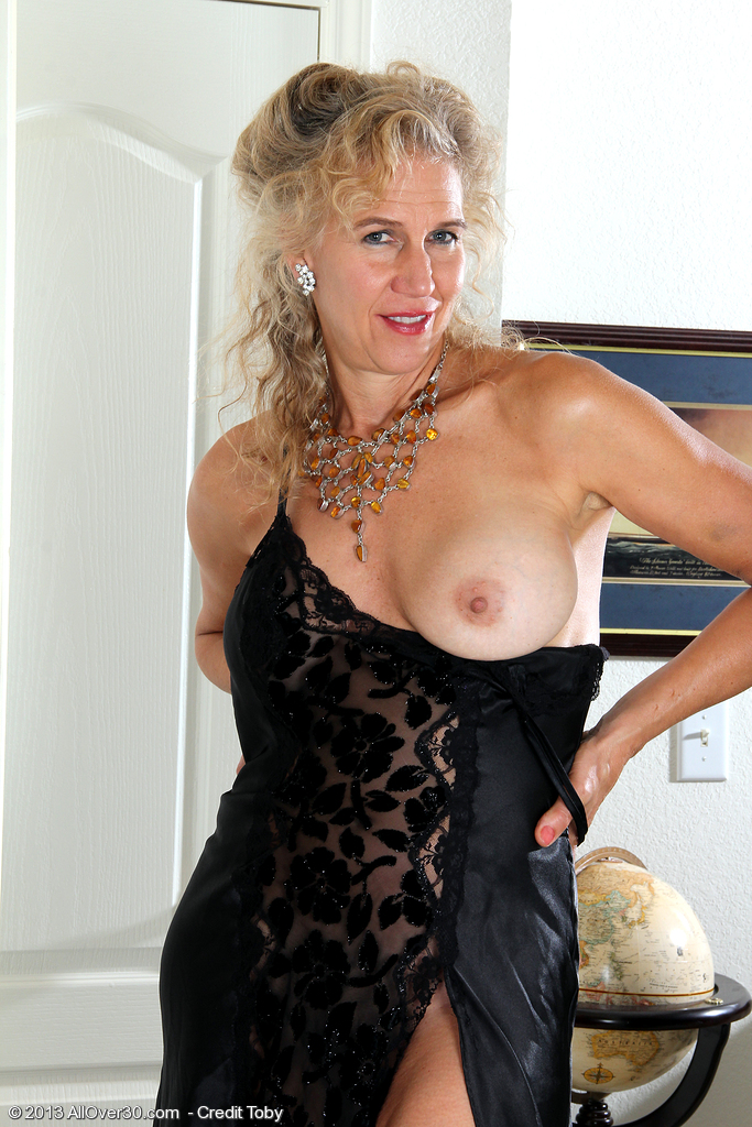 54 Year Old Sabrina from  Onlyover30 Glides out of Her Ebony Underwear