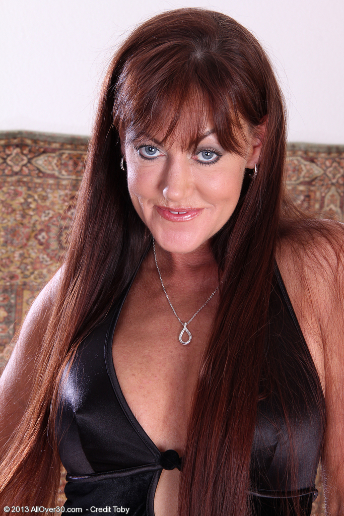 Redheaded and Elegant Shauna Poses then Strip out of Her Evening Dress
