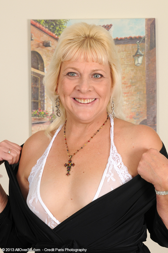 52 Year Old  Wife Sindy Silver Glides off Her Sexy White Underwear