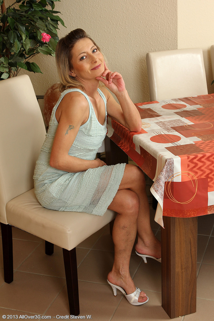 Skinny 45 Year Old Syndi Bell from  Onlyover30  Opening Up Her Long Gams