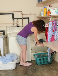 Gorgeous  Brown Haired  Wifey Tammy Sue Getting Jibby with the Laundry