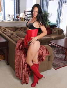 43 Year Old Kiera Blu from  Onlyover30  Takes off off Her Crimson and Ebony Undies