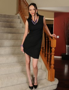 Hot Long Haired  Brown Haired Beth M Stretches Her Gams Broad on the Stairs