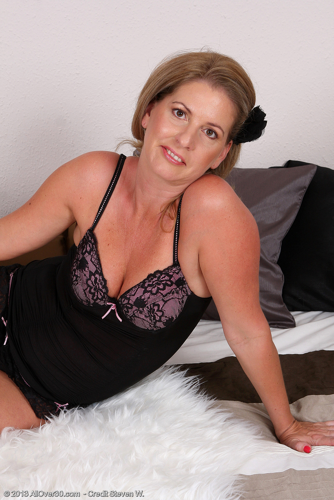 Super Horny  Wife Laura G from  Onlyover30 Undresses off Her Black Panties