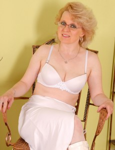 43 Year Old Milf Margeaux in White Lace Plays with Her Massive Pussy