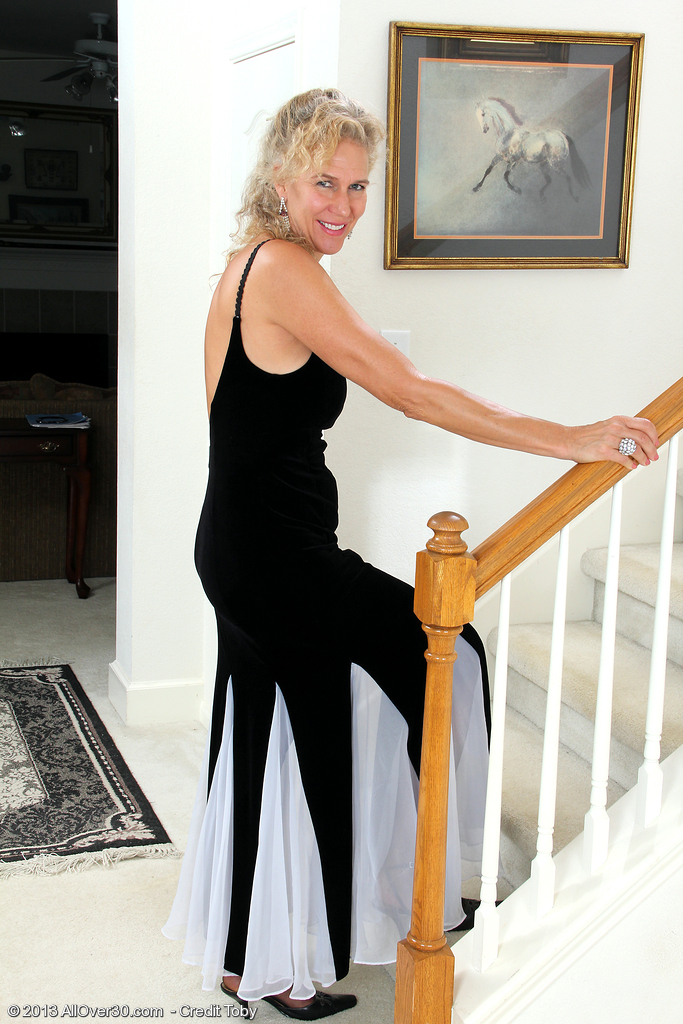 54 Year Old Sabrina from  Onlyover30 Slips out of Her Elegant Dress