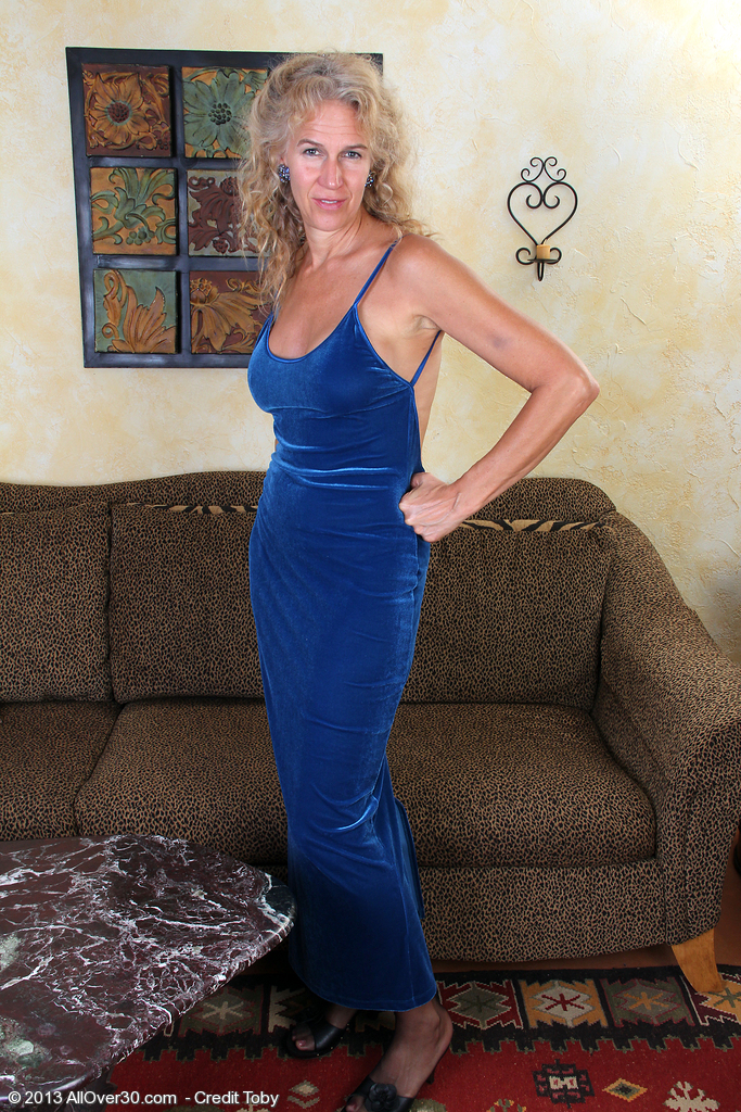 Excited and Elegant 54 Year Old Sabrina P Slide out of Her Blue Dress