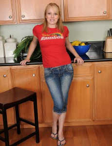 Blond  Wife Willow Slips out of Her Jeans and Fingers Her Cell