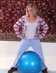 32 Year Old  Blond Haired Milf Opportunity Gets Down and Dirty with a Pilates Ball
