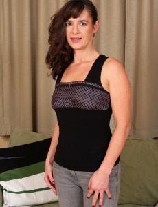 Brown Haired  Wifey Suzie Slides off Her Clothes and Stretches Her Long Gams