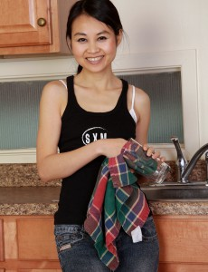 Pervy Thirty Year Old Amber Thi from  Onlyover30  Undresses in the Kitchen