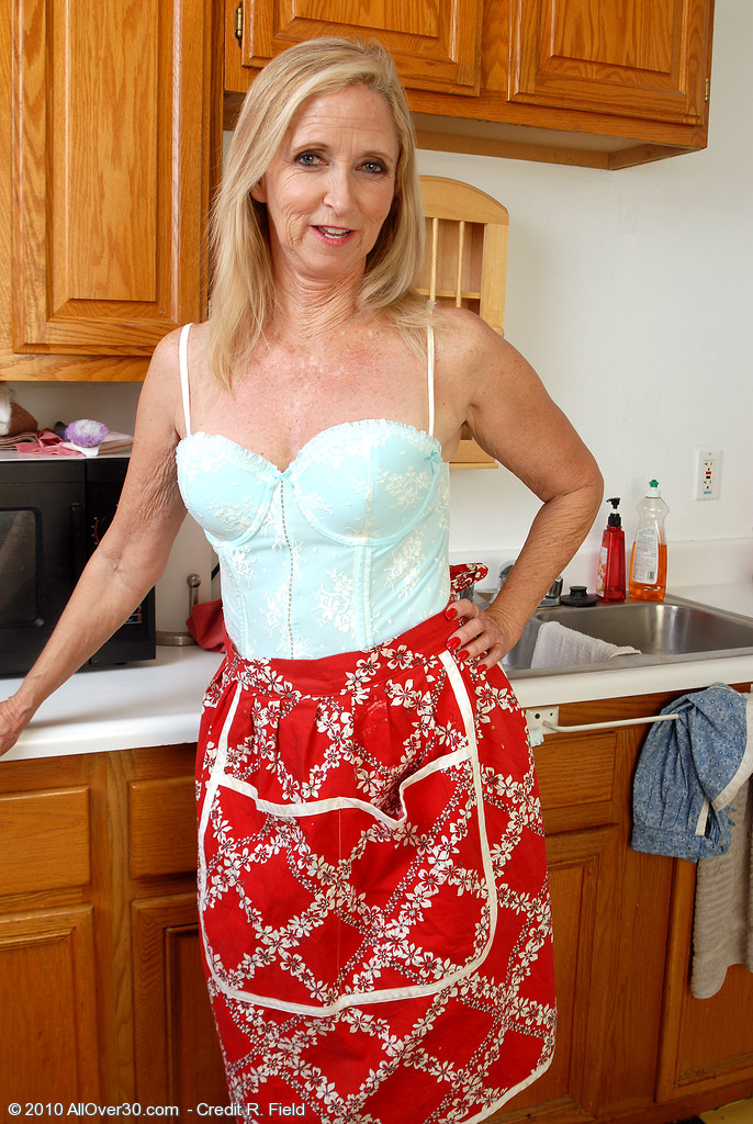 54 Year Old  Blond Haired  Wife Doing It Just Right in the Kitchen