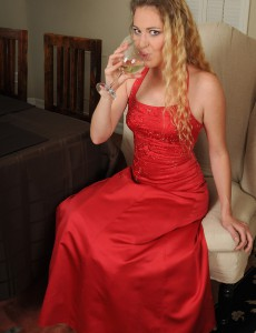 Elegant and Golden-haired Daisy L in and out of a  Hot Crimson Dress