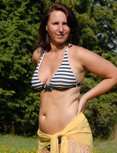 45 Year Old Milf Demi Sets Her Older Knockers Free in the Farmers Sphere