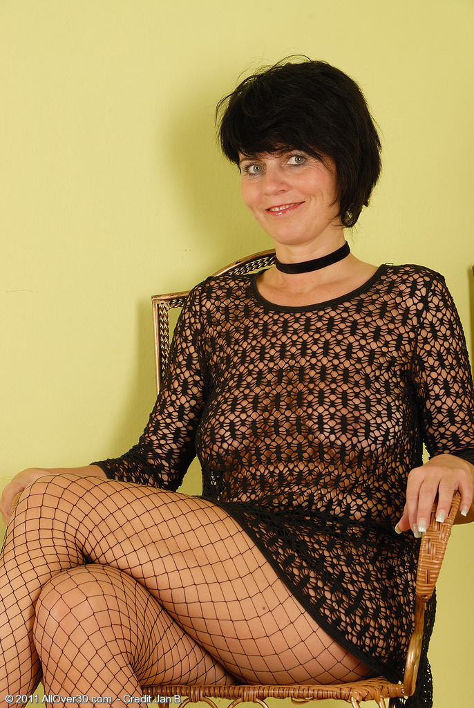 Eve from  Onlyover30 in Hot Darksome Lingeries  Opens Her Long Gams Broad