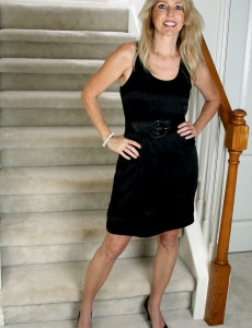 Blond Haired Mummy Ginger B  Opens Her Ass Broad for You on the Stairs