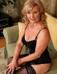 Marvelous 57 Year Old Lena F Glides out of Her Slinky Panties to Pose
