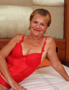 Lili from Allover30spreads Older Cunt and Shows off Her Red Underwear