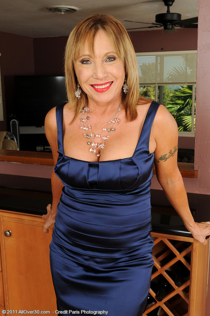 Naughty 60 Year Old Luna in and out of a Elegant Blue Evening Gown