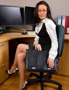 Dark Brown Marlyn Gets  Hot in Her Office and  Opens Open Her Cookie