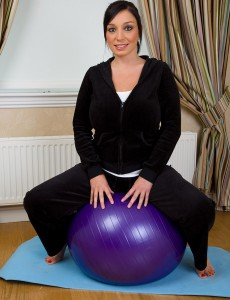 Big Breasted and  Older Babe Michelle B Receives Private with Her Pilates Ball