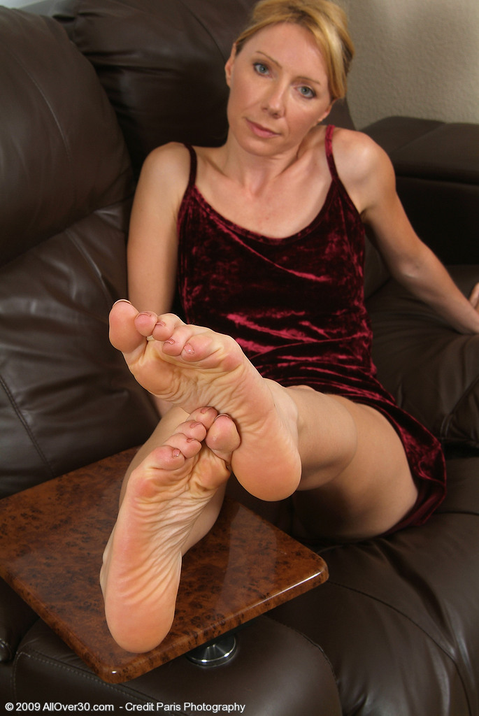 34 Year Old Blond Olga from  Onlyover30 Displays Long Gams and  Hot Soles