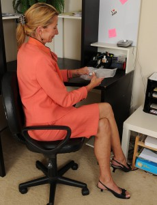 Slender 56 Year Old Pam Takes a Break from Her Office Work to Open Up