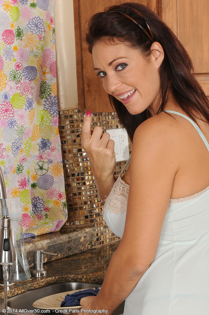 36 Year Old Charlee Pursue Gets Her Big Hooters Wet in the Kitchen
