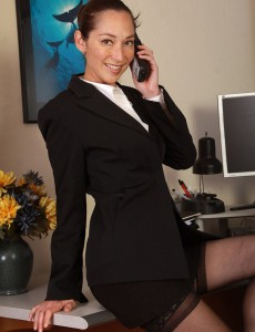 34 Year Old Sexy Executive Fiona Filmore Opens Her Gams on the Desk