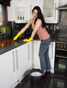 Brown Haired  Wifey Honesty Gets Herself All Wet in the Her Kitchen