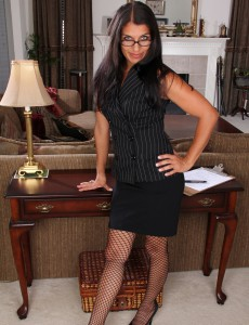 41 Year Old Secretary Saffron Leblanc Cracks to Spread Her Gams