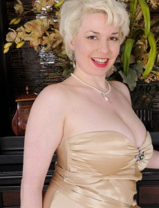 Blond Plus Breasty Goldie Ray Slides off Her Gold Elegant Dress Inwards Here