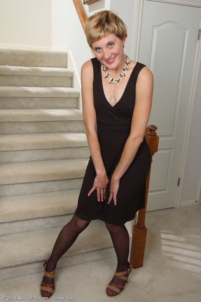 Skinny Plus  Older Babe Katrina Mathews  Stretching Her Gams Found on the Stairs