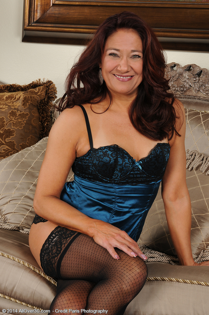 52 Year Old Renee Black Inwards Blue Panties Plus Tights Found on the Sofa