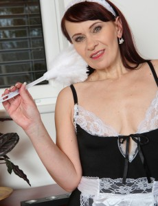 Older House Girl Vera Delight Undresses Plus Slips Her Feather Duster Deep