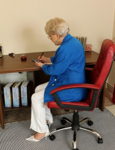 58 Year Old Secretary Mimi Cracks from Steno to Widen Her Gams
