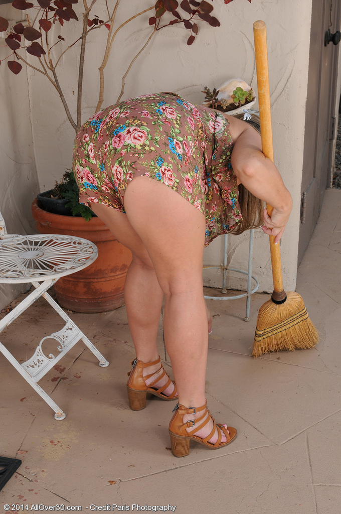 37 Year Old Marie Micheals  Takes off and  Opens Her Groin Regarding Patio