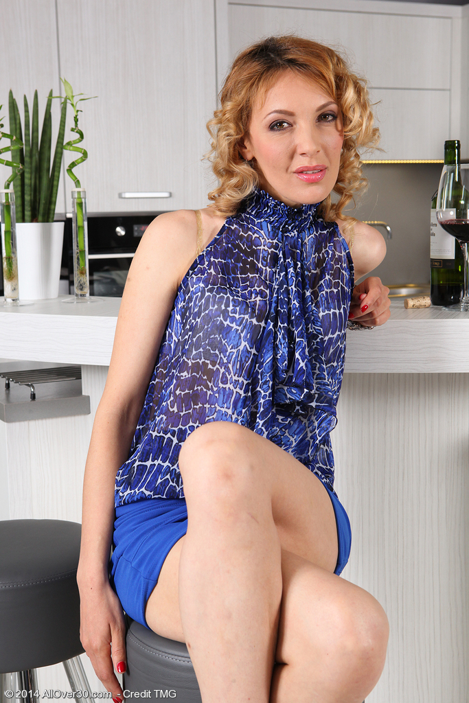 Elegant and Tiny Gina Monelli from  Onlyover30 Posing in Her Sexy Dress