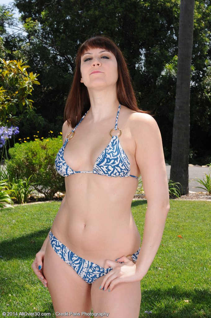 Stunning 30 Year Old  Brown Haired Addie Juniper Bows over in the Backyard