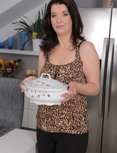 38 Year Old  Brown Haired Fernanda Jerson  Opens Broad in the Kitchen