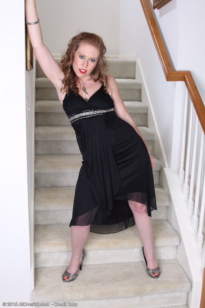 Elegant  Blond 31 Year Old Amber Carlisle Acquires Exposed on the Stairs