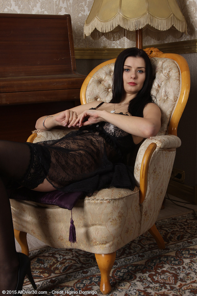 31 Year Old Helena Black Looking So Hot in Her Pantyhose and Underwear