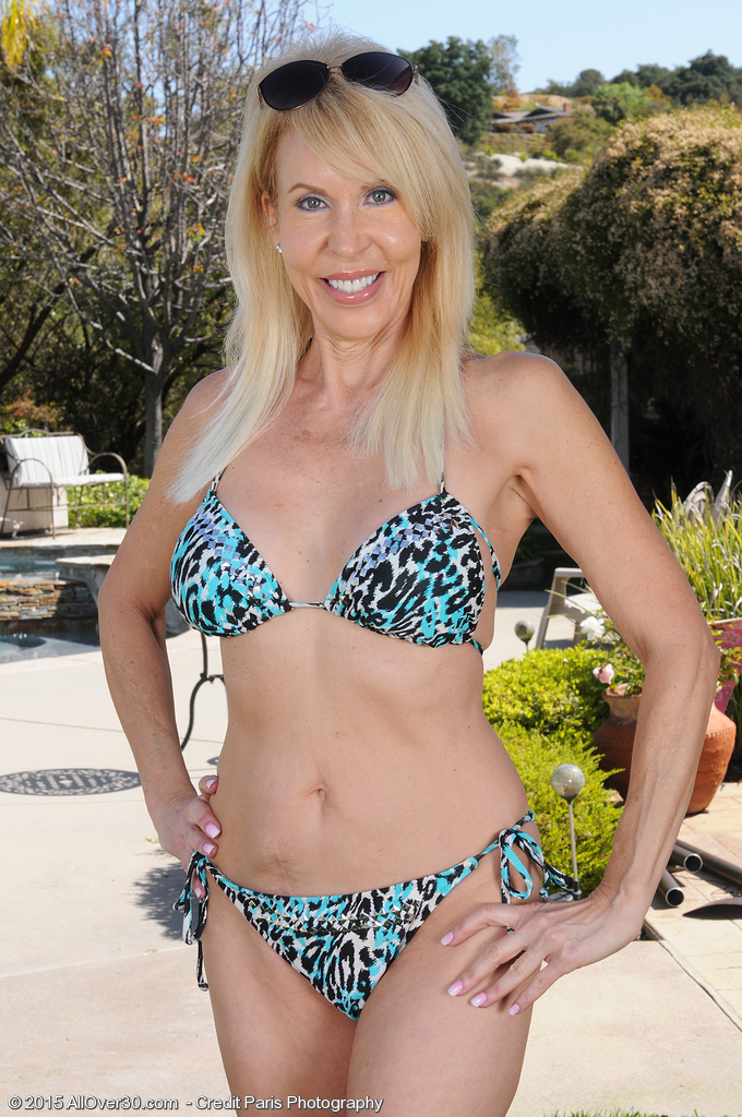 60 Year Old Erica Lauren  Opens Her Aged Firm Ass in the Backyard