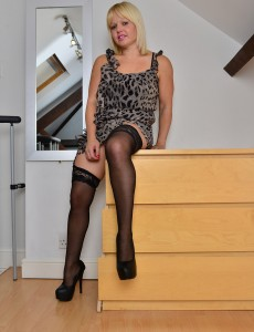Blond Sexpot Sophie May  Undresses Down on Top of the Dresser