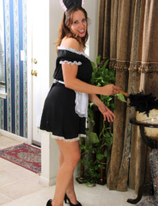 Super Horny Female House Slave Cassandra Johnson Dusts and Disrobes